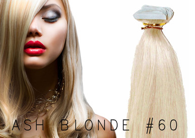 "20"" TAPE EUROPEAN REMY HUMAN HAIR EXTENSION   62GM PER PACK X 20 PCS ASH BLONDE #60"