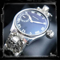 Antique Hamilton Watch Exquisitely United with Black Diamond Skull Sterling Silver Bracelet