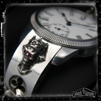 Antique Rolex - Diamond & Ruby Crowned Skull Cross Bracelet in Sterling Silver | KING of the UNDERGROUND