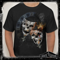 Comedy Tragedy Skull T-Shirt - Theater Mask Skulls with Dark Triumph Logo on back