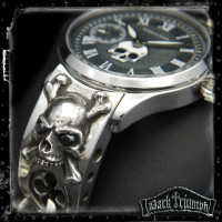 Vintage Hamilton Watch on Black Diamond Skull Crossbones Bracelet in Sterling Silver | BOUNCER of PURGATORY