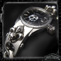 Vintage Rolex DateJust on Black Diamond Skull Fleur Cross Bracelet in Sterling Silver | ALCHEMIST