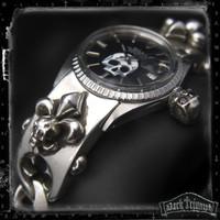 Vintage Rolex DateJust on Black Diamond Skull Fleur Cross Bracelet in Sterling Silver | ALCHEMIST
