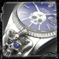 Vintage Rolex DateJust Watch on Blue Sapphire Jester Skull Cross Bracelet in Sterling Silver | SAPPHIRE MADNESS