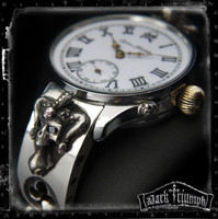 Antique Glashutte Watch on Ruby Diamond Jester Skull Bracelet in Sterling Silver | DUST N' BONES