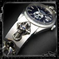 Vintage Rolex DateJust Watch on Blue Sapphire Skull Cross Bracelet in Sterling Silver | SCREAMING DEMON