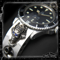 Vintage Rolex Tudor - Diamond & Sapphire Crowned Skull Cross Bracelet in Sterling Silver | WHISKEY BLUES