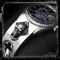 Vintage Rolex DateJust Watch on Black Diamond Golgotha Skull Cross Bracelet in Sterling Siver | APPETITE for SEDUCTION