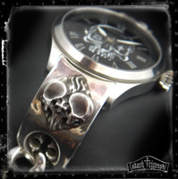 Vintage Hamilton Watch on Black Diamond Double Skull Heart  Bracelet in Sterling Silver | DEAD RINGER