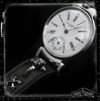 Antique Vacheron Constantin Watch - Handmade Leather & Sterling Silver Skull Cross Strap | HELLBENT