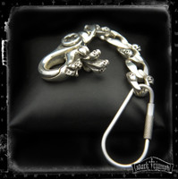Key Chain - Triple Skull in Sterling Silver | LOCKED & LOADED