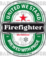 Firefighter Heineken parody shirt
