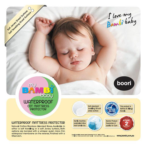 Bambi - Cotton/Bamboo Waterproof Cot Mattress Protector – Stretch Knit