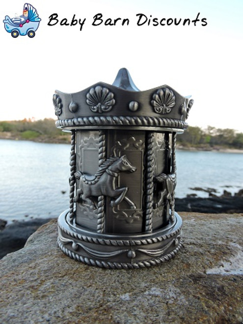 Carousel Money Bank - Pewter - Gorgeous Keepsake money boxes, measuring at 12cm in height and 9cm wide.