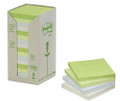 3M 654-RTP Post-it Recycle Notes Pastel 76 x 76mm 16/Pack