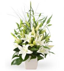 Premium flower arrangement of white oriental lilies for sweden delivery.