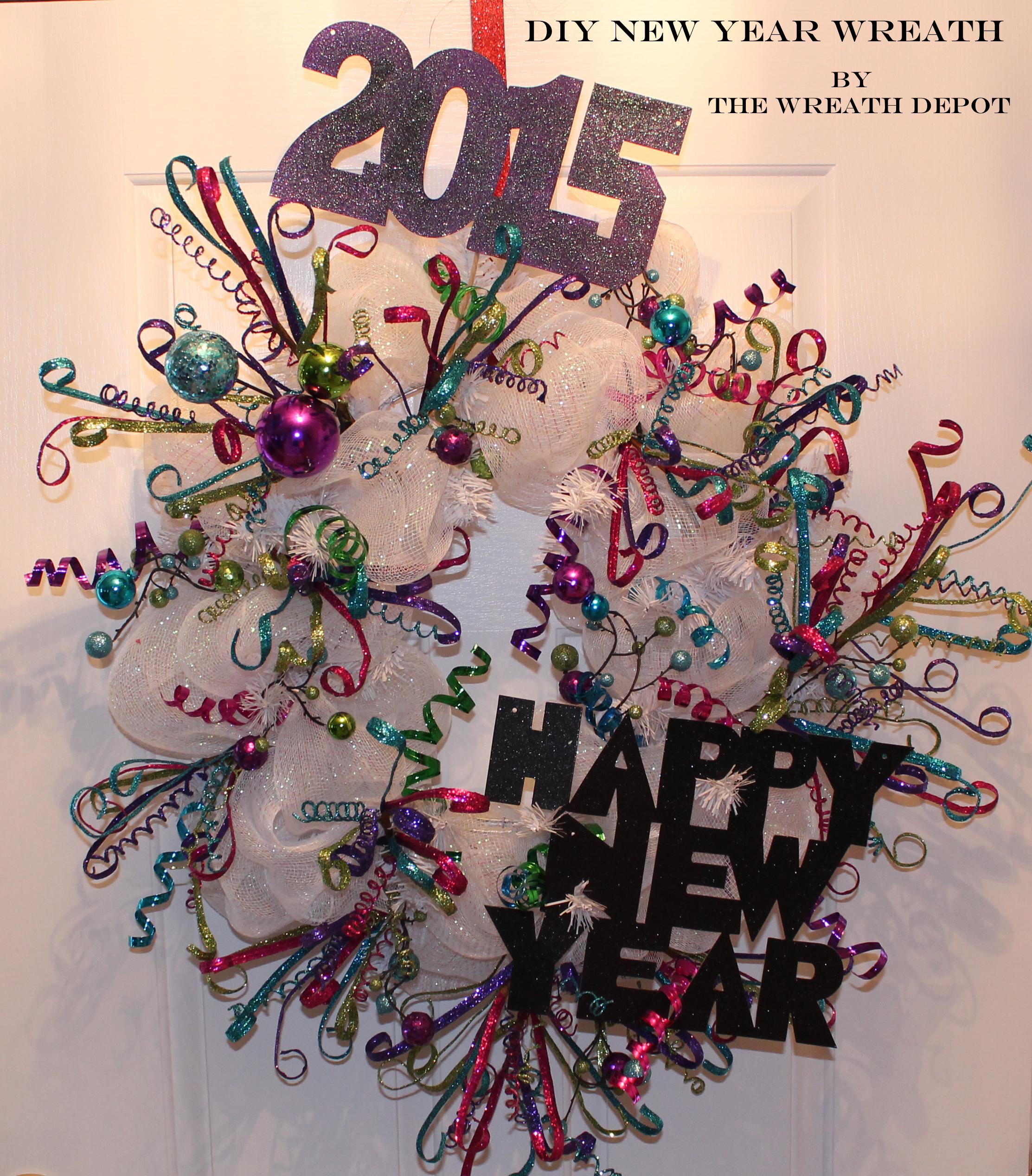 Diy deco mesh wreath tutorial happy new year the wreath depot baditri Gallery