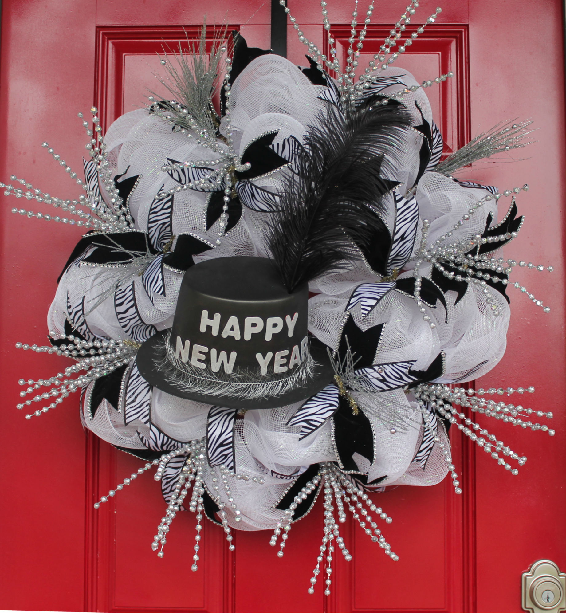 DIY New Year Celebration Mesh Wreath - The Wreath Depot
