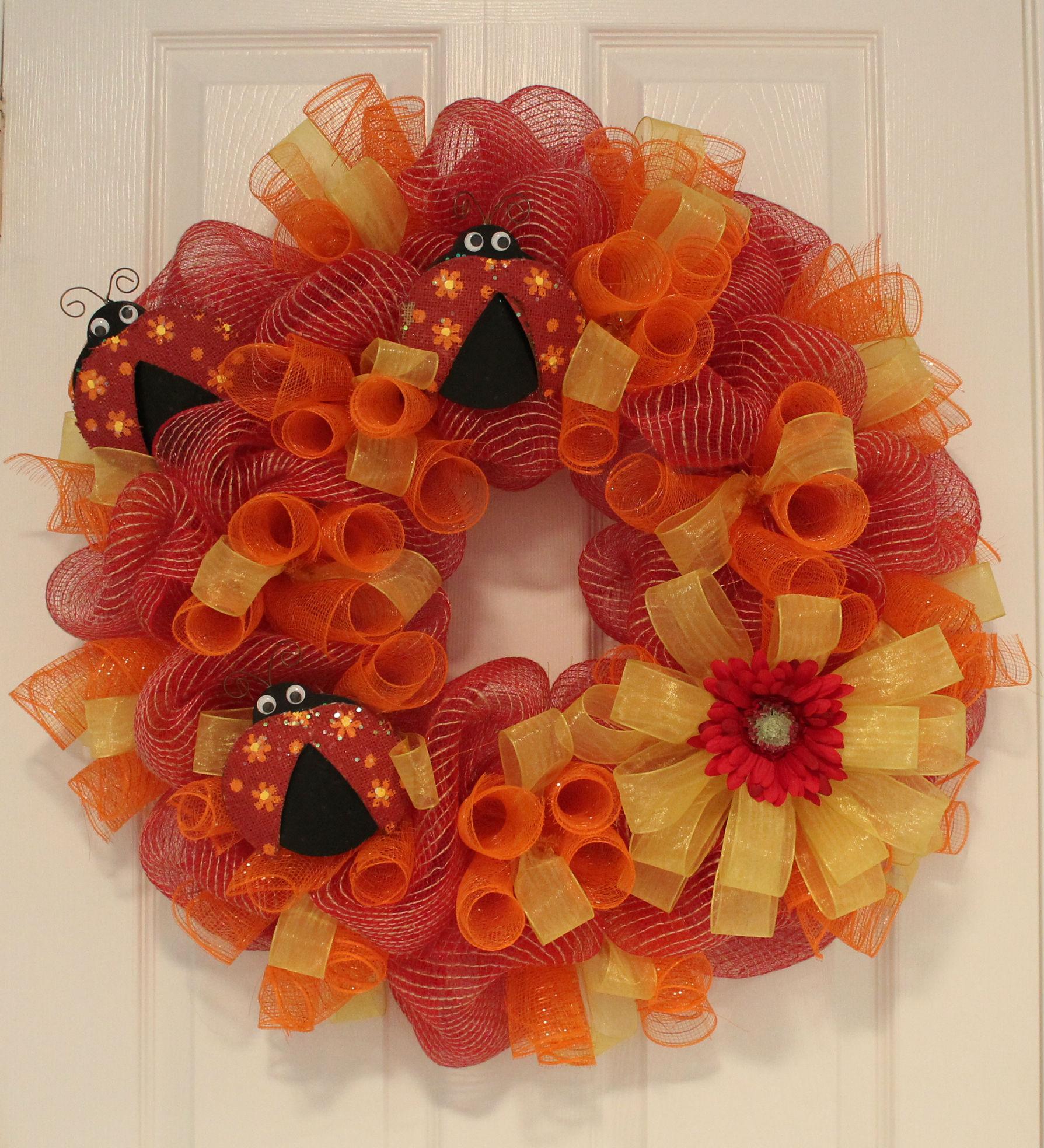 Diy mesh spring ladybug spiral wreath the wreath depot baditri Images