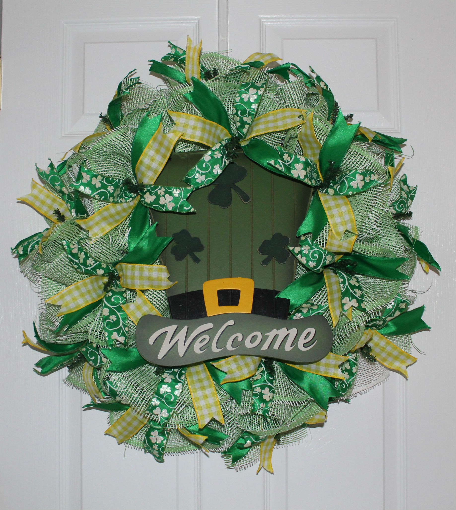 Diy Deco Mesh St Patrick S Day Wreath Quot Shamrock Welcome