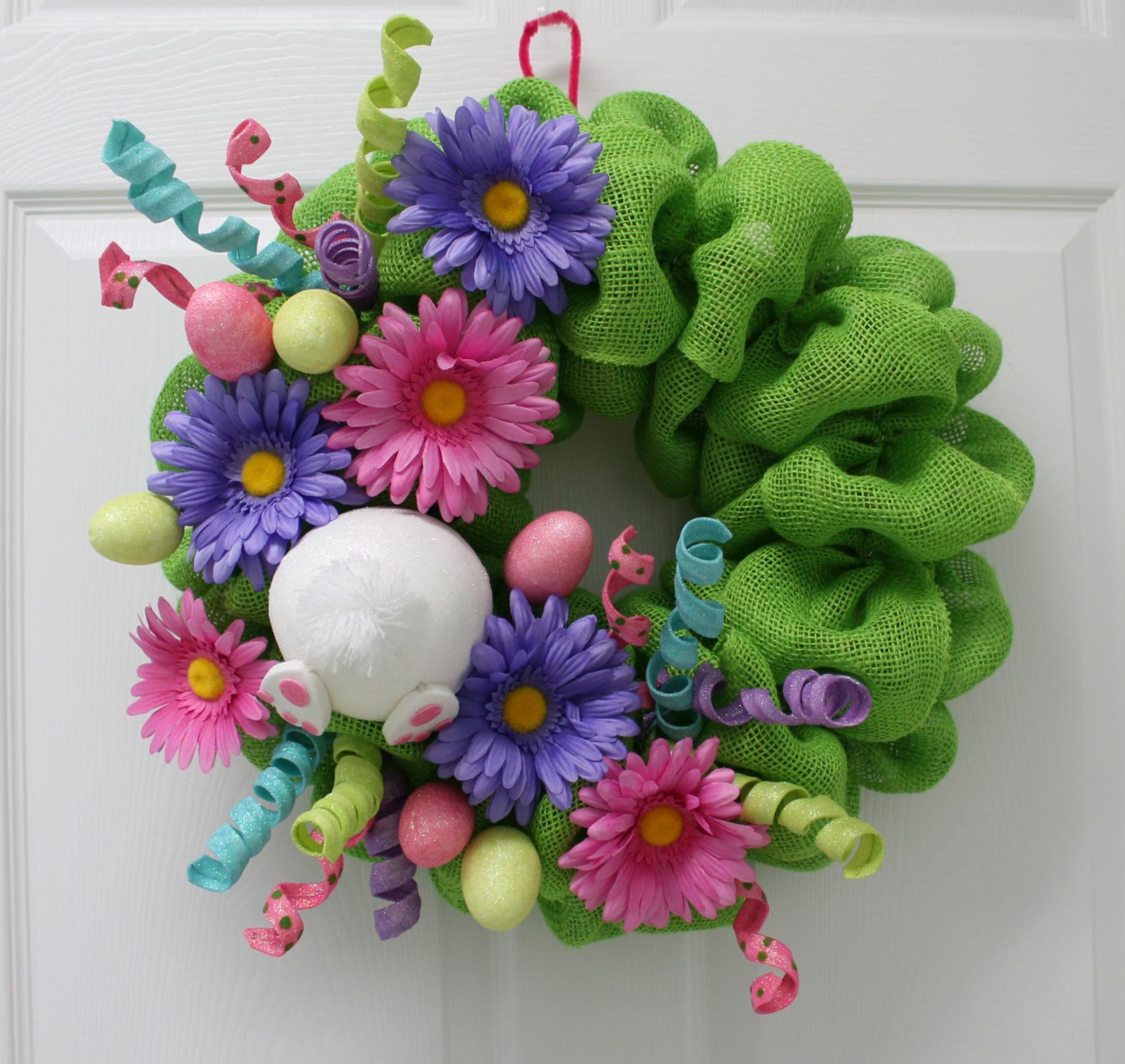 Diy burlap easter wreath the wreath depot for How to make door wreaths for spring