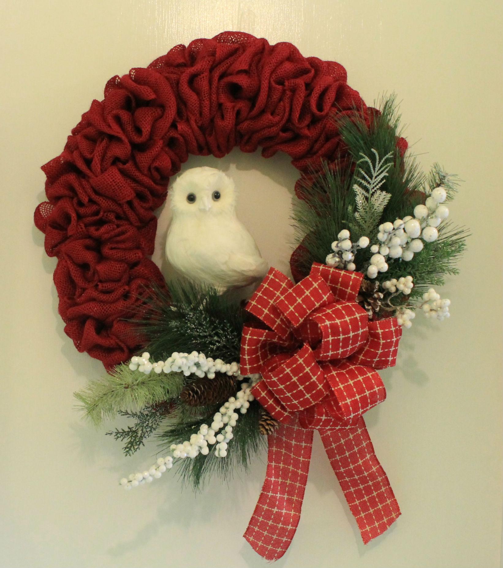 Diy burlap snow owl wreath the wreath depot solutioingenieria Choice Image