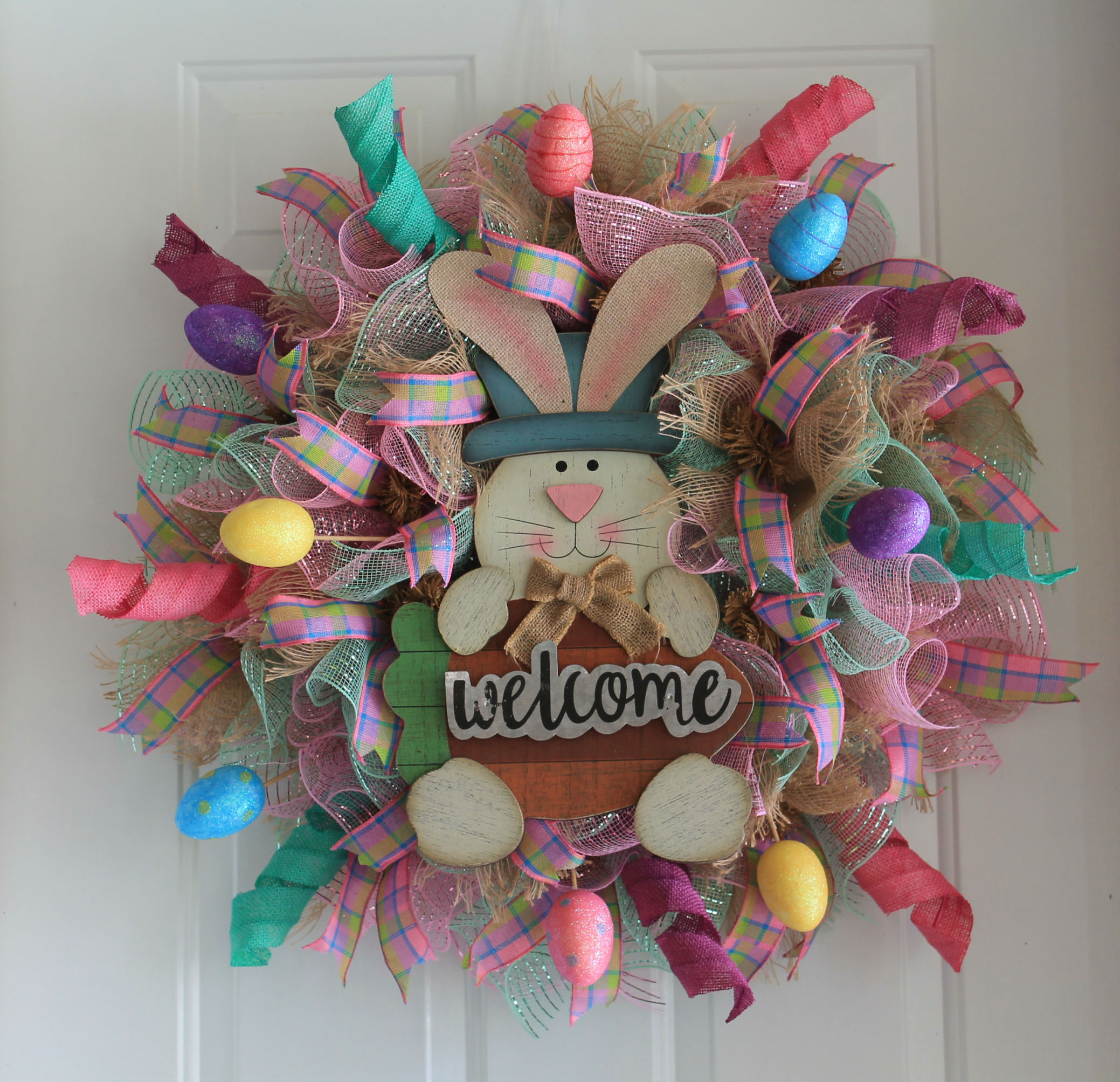 Diy welcome easter bunny mesh wreath the wreath depot for Craft wreaths for sale