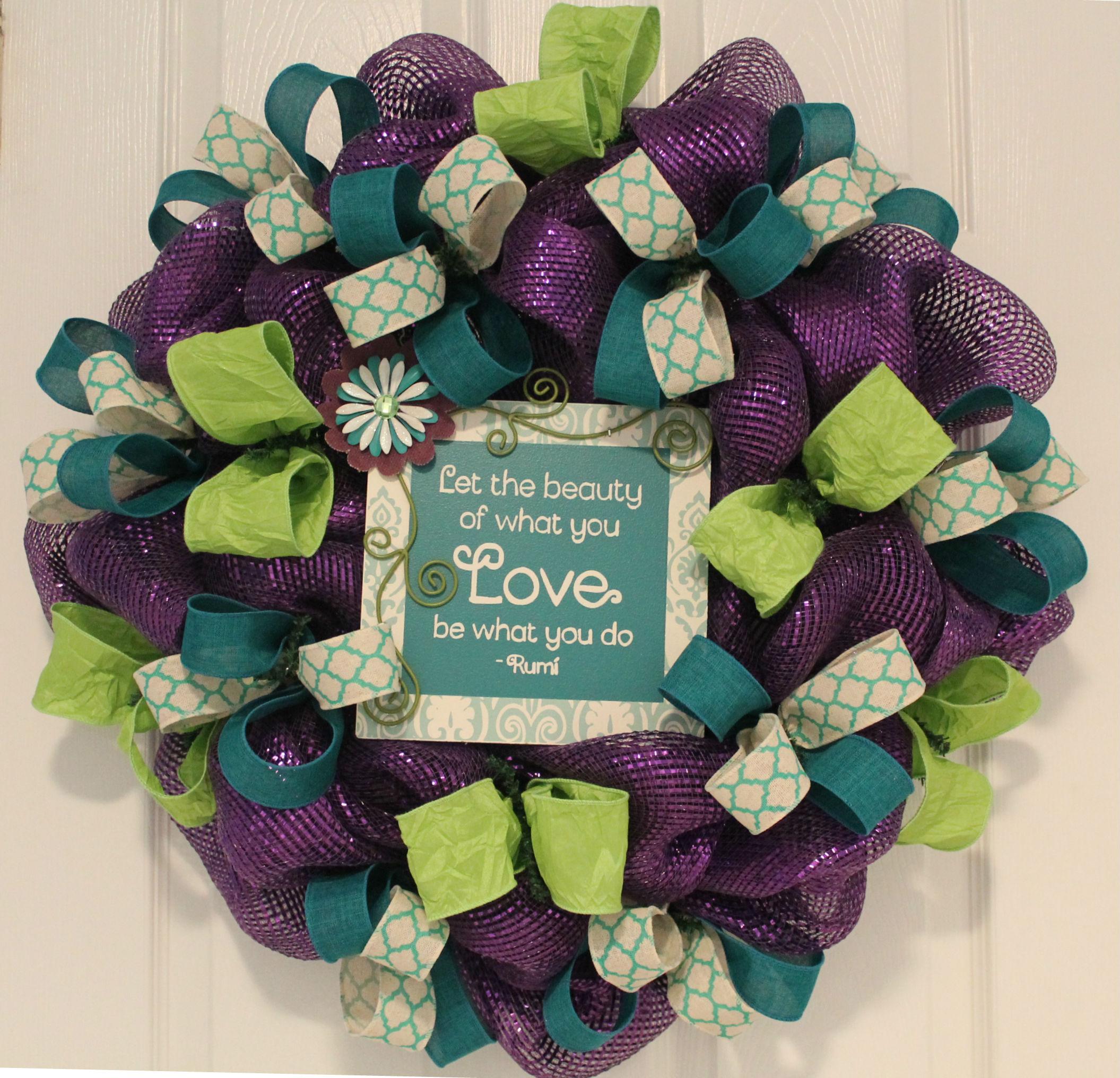 DIY Purple Ribbon Wreath \