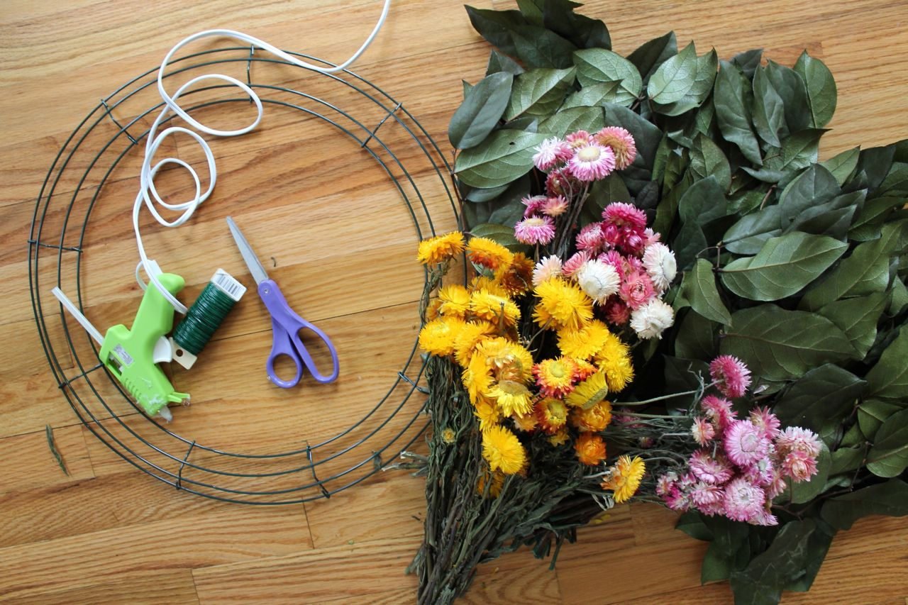Diy spring wreath the wreath depot this easy diy salal and dried flower wreath added a splash of color to my kitchen i love that it makes a room feel instantly more springy izmirmasajfo Choice Image