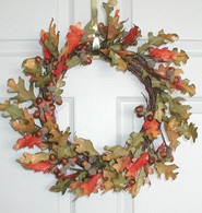 Autumn Oak Silk Wreath - 16 in
