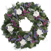 Blue Medley Dried Flower Wreath - 22-24 inch