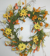 Buttercup Wildflower Silk Wreath 22 in