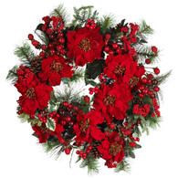 Carousel Poinsettia Wreath 22 inch