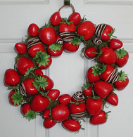 Chocolate Faux Strawberry Wreath -1 3 inch