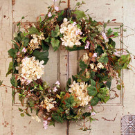 Cottage Garden Silk Outdoor Wreath - 22 inch