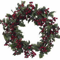 Dazzler Holly Silk Winter Wreath 22 inch