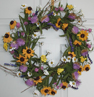 Garden Rainbow Wildflower Door Wreath 22 in