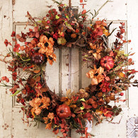 Glenwood Harvest Silk Door Wreath 22 inch