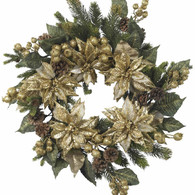 Goldfinger Poinsettia SIlk Door Wreath 24 inch