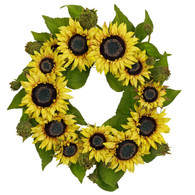 Inca Sunflower Silk Door Wreath - 22 inch