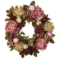 Jewel Hydrangea Silk Door Wreath - 18 inch