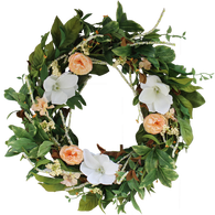 Magnolia Blossom Silk Door Wreath 22 in