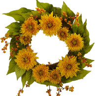 Mayan Sunflower Silk Door Wreath - 22 inch