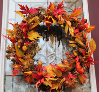 Maple Leaf Fall Silk Door Wreath - 22 inch