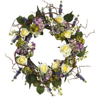 Montclaire Rose Silk Door Wreath - 22 inch