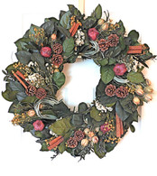 Pomegranates and Cinnamon Holiday Wreath - 22 inch