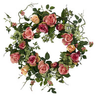 Sonya's Garden Rose Silk Door Wreath - 18 inch