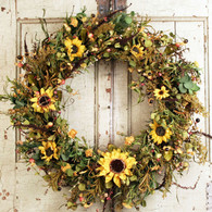Sweet Hannas Sunflower Silk Door Wreath 22 inch