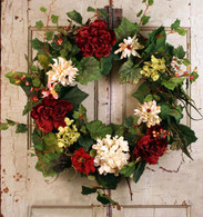 Village Gardens Silk Decorative Door Wreath - 22 inch