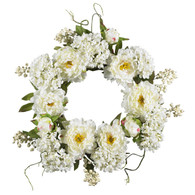 White Cloud Peony Silk Door Wreath - 20 inch